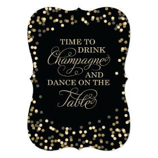 Black and Gold Confetti Wedding Invitation