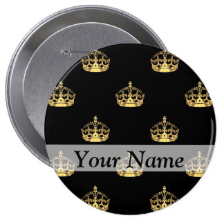 Black and gold crown pattern buttons
