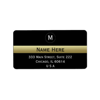 Black And Gold Custom Name Initial Monogram Address Label