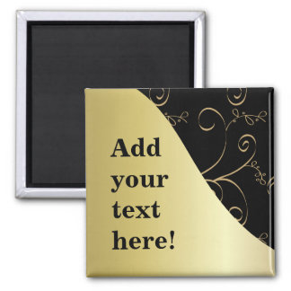 Black and Gold Customize It Magnet