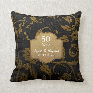 Black and Gold Damask 50th Wedding Anniversary Cushions