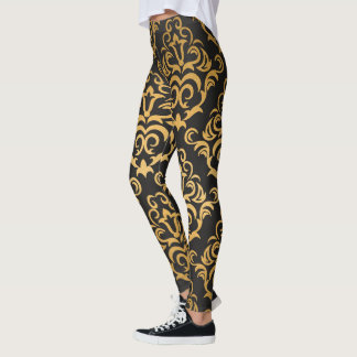 Black and Gold Damask Pattern Leggings