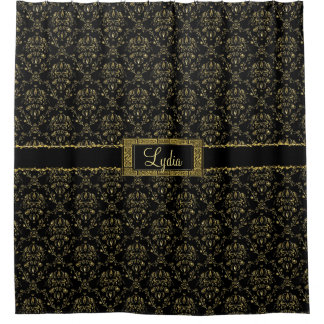 Black and Gold Damask Personalised Shower Curtain