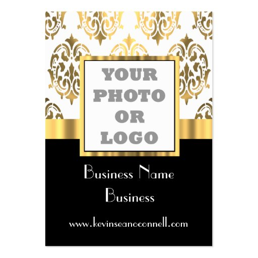 Black and gold damask photo logo business cards