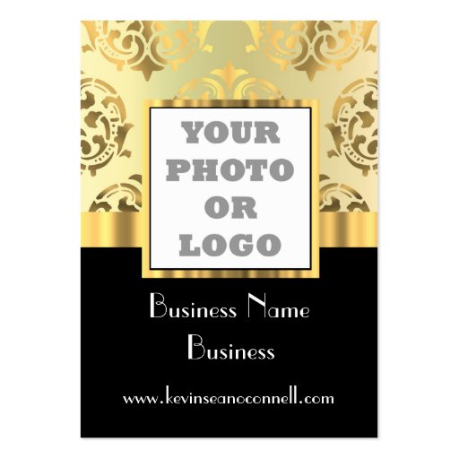 Black and gold damask photo logo business card templates