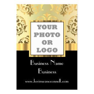 Black and gold damask photo logo pack of chubby business cards