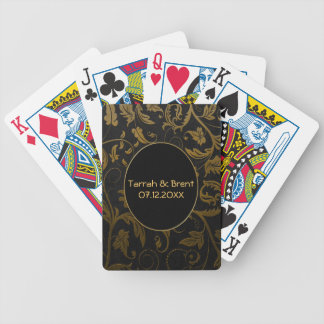 Black and Gold Damask Wedding - Customize Bicycle Playing Cards