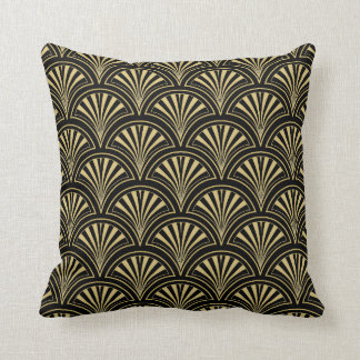 Black and Gold Deco Fan Pattern Cushion