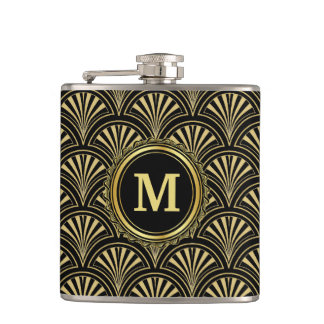 Black and Gold Deco Fans Monogram Flasks