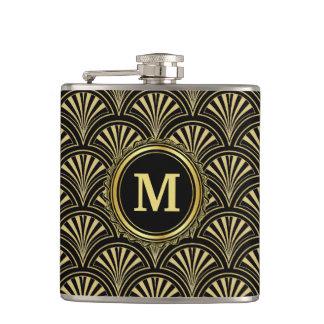 Black and Gold Deco Fans Monogram Hip Flask