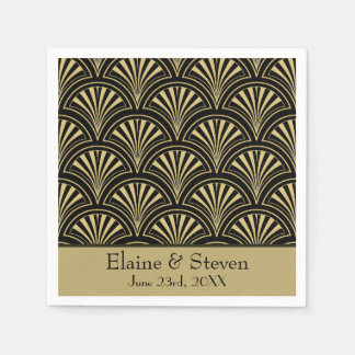 Black and Gold Deco Fans Personalized Disposable Napkin