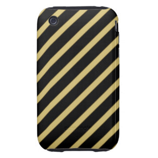 Black and Gold Diagonal Stripes iPhone 3 Tough Covers