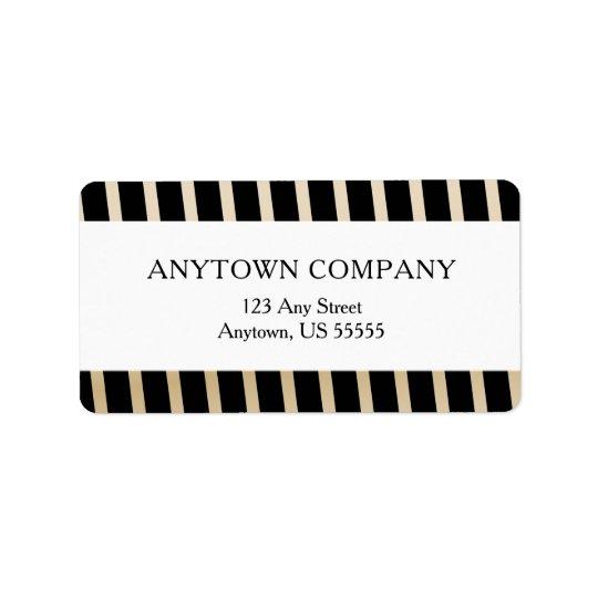 Black and Gold Diagonal Stripes Label
