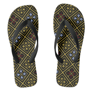 Black-and-Gold Diamond-Patterned Flip-Flops Thongs