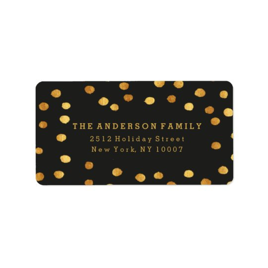 Black and gold dots address label