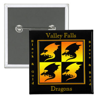 Black and Gold Dragons 15 Cm Square Badge