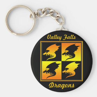 Black and Gold Dragons Basic Round Button Key Ring