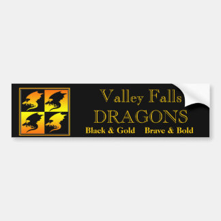 Black and Gold Dragons Car Bumper Sticker