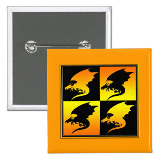 Black and Gold Dragons Buttons