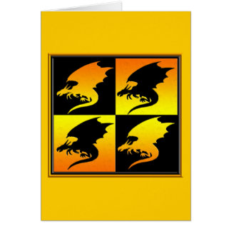 Black and Gold Dragons Greeting Cards