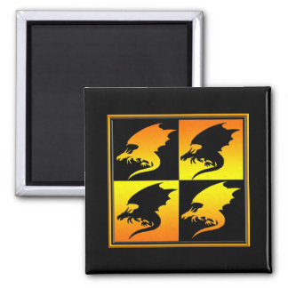 Black and Gold Dragons Fridge Magnet