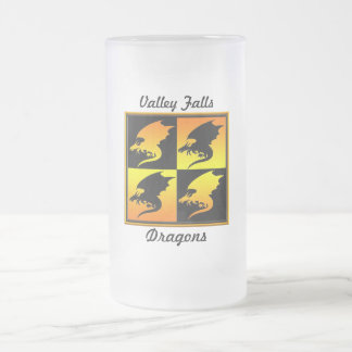 Black and Gold Dragons 16 Oz Frosted Glass Beer Mug