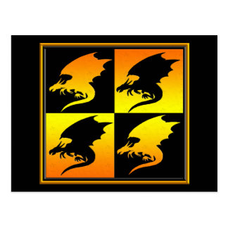 Black and Gold Dragons Postcard