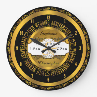 Black and Gold Elegant 15th Wedding Anniversary Large Clock