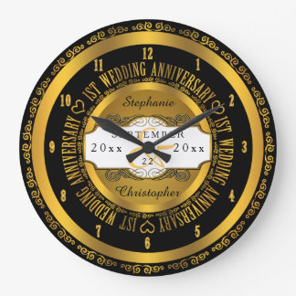 Black and Gold Elegant 1st Wedding Anniversary Wallclocks