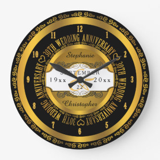 Black and Gold Elegant 30th Wedding Anniversary Large Clock