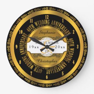 Black and Gold Elegant 40th Wedding Anniversary Large Clock