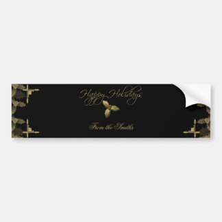 Black and Gold Elegant Holly Wine Label Bumper Stickers