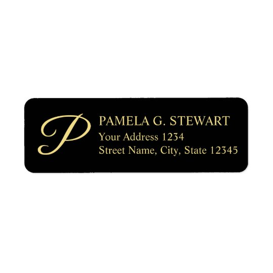 Black and Gold Elegant Monogram Return Address Label