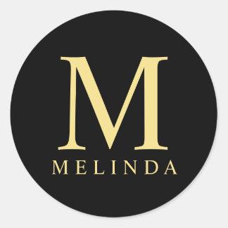 Black and Gold Elegant Monogram Round Sticker