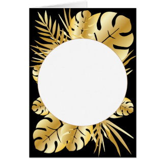 Black and gold elegant tropical leaves template