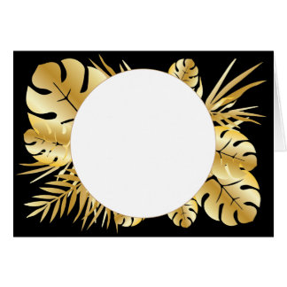 Black and gold elegant tropical leaves template card