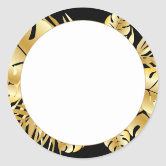 Black and gold elegant tropical leaves template classic round sticker