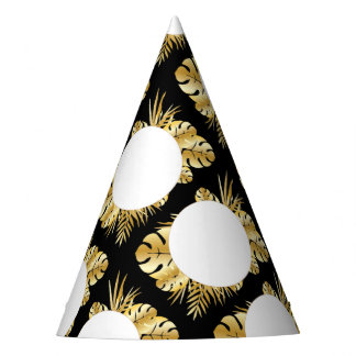 Black and gold elegant tropical leaves template party hat