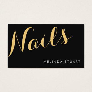 Black and Gold Elegant Typography Nail Artist Business Card