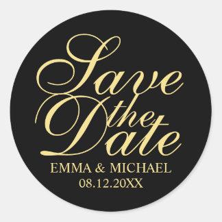 Black and Gold Elegant Wedding Save the Date Round Sticker