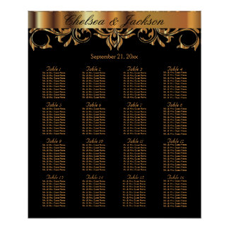 Black and  Gold Element Design - Seating Chart Poster