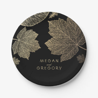 Black and Gold Fall Leaves Wedding Paper Plate