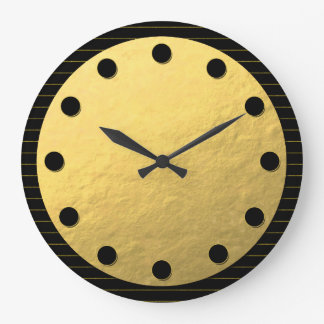 Black and Gold Faux Foil Classy Wall Clock
