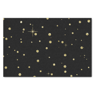 Black and Gold Faux Glitter Confetti Dots Tissue Paper