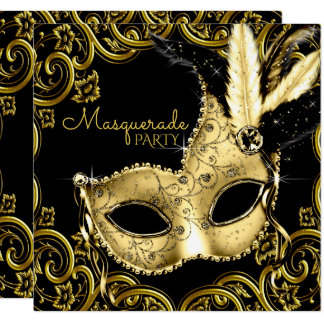 Black and Gold Feather Mask Masquerade Party 13 Cm X 13 Cm Square Invitation Card