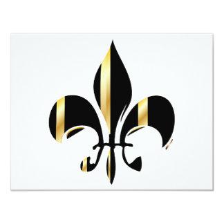 Black and Gold Fleur de Lis 11 Cm X 14 Cm Invitation Card