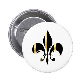 Black and Gold Fleur de Lis 6 Cm Round Badge