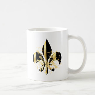 Black and Gold Fleur de Lis Basic White Mug