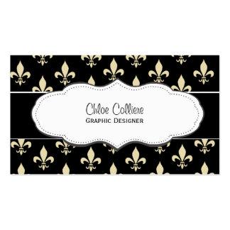 Black and Gold Fleur de Lis business cards
