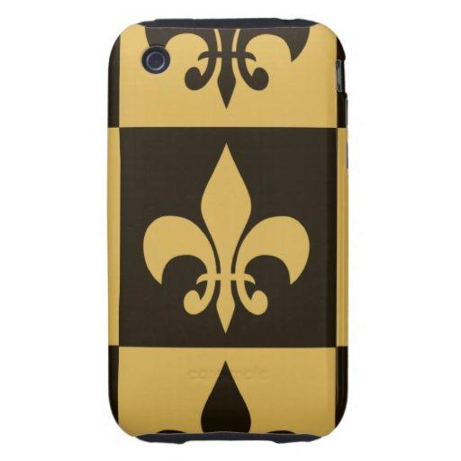Black and Gold Fleur de lis Tough iPhone 3 Cover